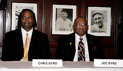 February 8, 2006 - New York, NY - IBF Heavyweight Champion Chris Byrd (l) with father/trainer Joe Byrd during the press conference announcing his upcoming fight against Wladimir Klitschko.  The two fighters will meet on April 22nd for Byrd's IBF and the vacant IBO Heavyweight Championship at the SAP-Arena in Mannheim, Germany.