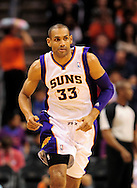 Jan. 8, 2012; Phoenix, AZ, USA; Phoenix Suns forward Grant Hill (33) reacts on the court while playing against the Milwaukee Bucks at the US Airways Center. The Suns defeated the Bucks 109-93. Mandatory Credit: Jennifer Stewart-US PRESSWIRE.