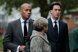 © Licensed to London News Pictures. 19/10/2012, London, UK.  Leader of Labour Party Ed Miliband, right, and Chuka Umunna, MP for Streatham, left, arrive for a memorial service for the former energy minister and Croydon North Labour MP, Malcolm Wicks at  the Croydon Minster in Croydon, South London, Friday, Oct. 19, 2012. Malcolm Wicks had been suffering from cancer died aged 65 on September 29. Photo credit : Sang Tan/LNP