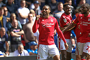 Lewis Grabban (7) scores a goal and celebrates during the EFL Sky Bet Championship match between Nottingham Forest and Birmingham City at the City Ground, Nottingham, England on 17 August 2019.