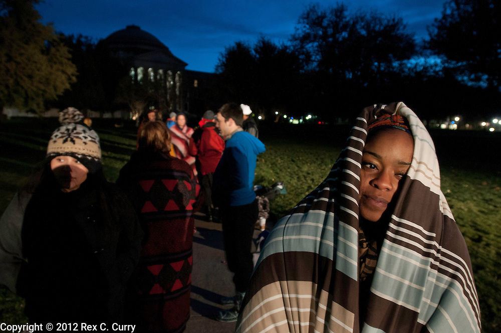 """Stephanie Michele, 20, righe, a childhood development student at TWU, waits in the early morning cold to audition for """"So You Think You Can Dance"""" at SMU on Friday, Jan. 13, 2012."""