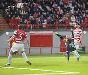 Peter MacDonald comes close with and overhead kick - Hamilton v Dundee, SPFL Championship at <br /> New Douglas Park<br /> <br />  - &copy; David Young - www.davidyoungphoto.co.uk - email: davidyoungphoto@gmail.com