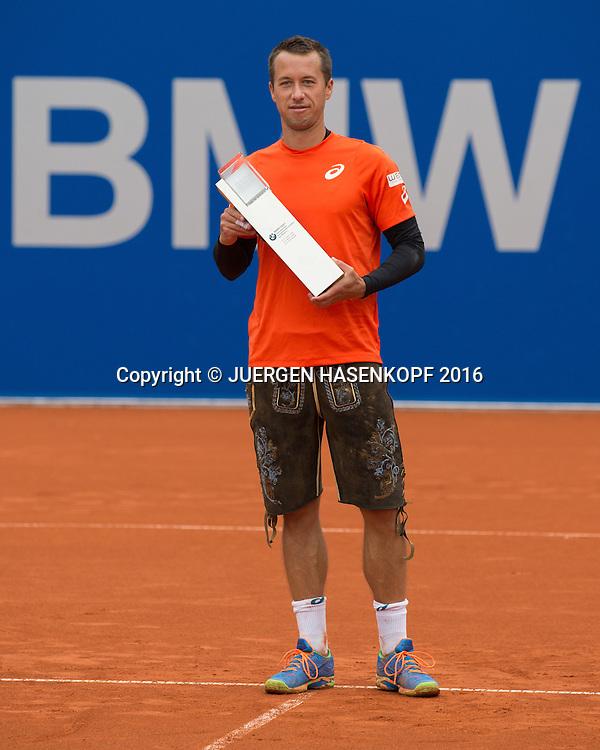 Philipp Kohlschreiber (GER), mit dem Pokal,Siegerehrung, Endspiel, Final<br /> <br /> <br /> Tennis - BMW Open2016 -  ATP  -  MTTC Iphitos - Munich - Bavaria - Germany  - 1 May 2016.