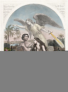 Angel with flaming sword supervises the expulsion of Adam and Eve, wearing aprons of fig leaves from the Garden of Eden. 'Bible' Genesis 3. Hand-coloured engraving c1860.