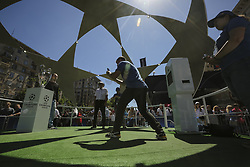 May 26, 2018 - Kiev, Ukraine - Real Madrid and Liverpool FC fans and supporterstake pictures in front of UCL Cup entertain at fan zone downtown Kyiv, Ukraine, May 26, 2018 before the UEFA Champions League Final. (Credit Image: © Sergii Kharchenko/NurPhoto via ZUMA Press)