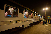 Victoria Express luxury train connecting Hanoi and Lao Cai, waiting for departure in Hanoi.
