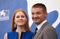 Amy Adams and Jeremy Renner at Arrival film photocall at the 73rd Venice Film Festival, Sala Grande on Thursday September 1st 2016, Venice Lido, Italy.