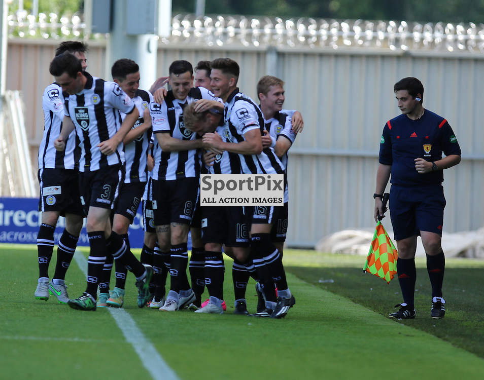 Scott agnew scores against his old club and is mobbed bye players during the St Mirren FC V Dumbarton FC Scottish Championship 12th August 2015<br /> <br /> (c) Andy Scott | SportPix.org.uk