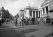 St Patrick's Day Parade.1982.17/03/1982.03.17.1982.17th March 1982..Picture of the coach as it passes the Bank of Ireland headquarters on Dame St, Dublin