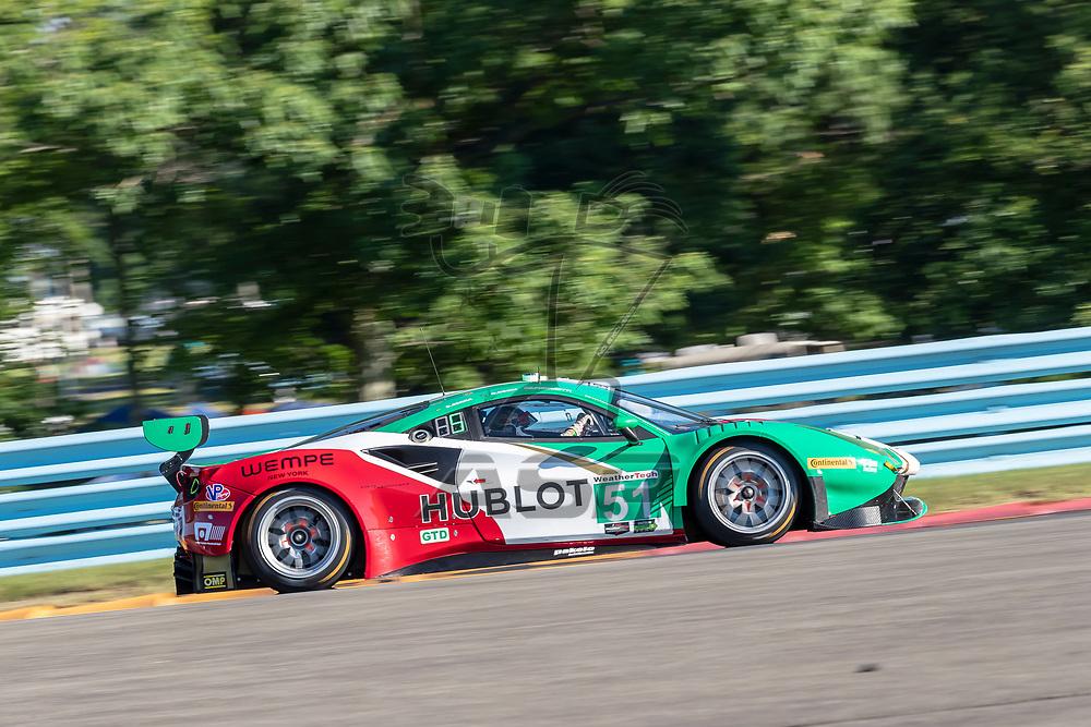 The Spirit of Race Ferrari 488 GT3 car practice for the Sahlen's Six Hours At The Glen at Watkins Glen International Raceway in Watkins Glen, New York.