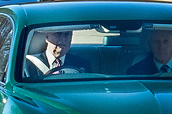 © Licensed to London News Pictures. 29/01/2020. Windsor, UK. Prince Andrew (L) drives himself from Windsor the day after being criticised by a US prosecutor for giving 'zero co-operation' during Epstein inquiry. Photo credit: Peter Macdiarmid/LNP