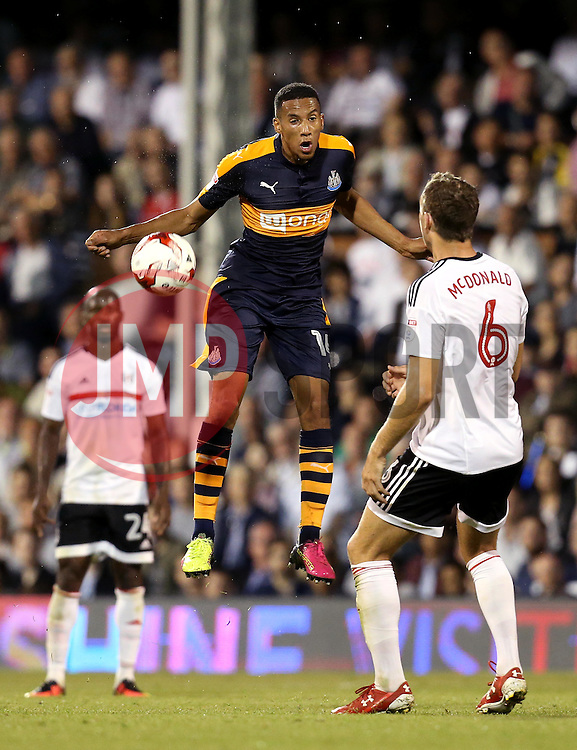 Isaac Hayden of Newcastle United heads the ball - Mandatory by-line: Robbie Stephenson/JMP - 05/08/2016 - FOOTBALL - Craven Cottage - Fulham, England - Fulham v Newcastle United - Sky Bet Championship