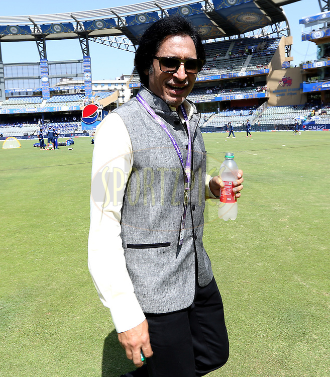 Rameez Raja commentator before the match 23 of the Pepsi IPL 2015 (Indian Premier League) between The Mumbai Indians and The Sunrisers Hyferabad held at the Wankhede Stadium in Mumbai India on the 25th April 2015.<br /> <br /> Photo by:  Sandeep Shetty / SPORTZPICS / IPL