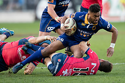 Otago's Vilimoni Koroi, right, is tackled by Tasman in the Mitre 10 Cup rugby match, Forsyth Barr Stadium, Dunedin, New Zealand, Sept. 16 2017.  Credit:SNPA / Adam Binns ** NO ARCHIVING**