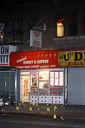 Atmosphere at Shooting of Brian Scott and two of his friends at Parkside Donut Shop in the Flatbush Section of Brooklyn. Shots rang out in the late evening, leaving 20 year-old Brian Scott shot dead in neighborhood Donut Shop.