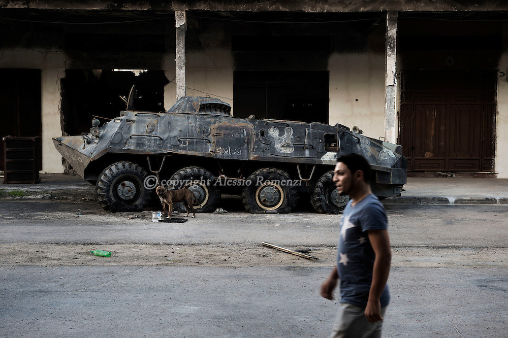 Libya, Misurata: dismissed armoured personnel carrier in a military base in Misurata. Alessio Romenzi