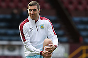 Stephen Ward of Burnley warming up before the Sky Bet Championship match between Burnley and Blackburn Rovers at Turf Moor, Burnley, England on 5 March 2016. Photo by Simon Brady.