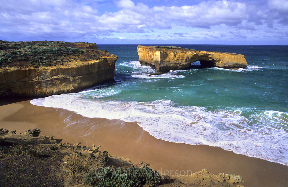 Famous rock formation called London Bridge, Port Campbell National Park, Australia.