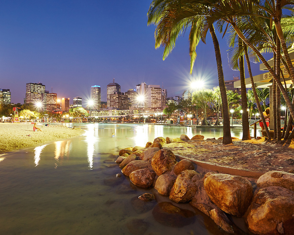A warm summer evening at Streets Beach, SouthBank, Brisbane.