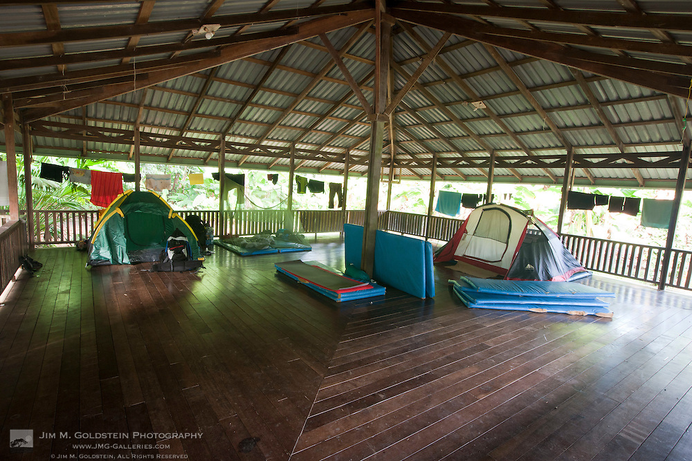Tents and sleeping pads at the raised camping facilities of Sirena Biological Station Corcovado National Park, Costa Rica