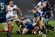 Connacht's Caolin Blade throws out a pass during a European Challenge Cup Quarter Final match won 20-10 by Sale in Eccles, Greater Manchester, United Kingdom, Friday, March 29, 2019.  (Steve Flynn/Image of Sport)