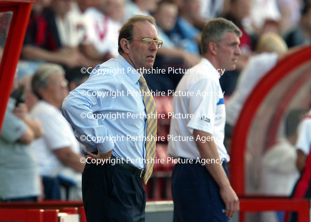 Airdrie v St Johnstone...07.08.04<br />John Connolly can only watch as his side go down 1-0<br /><br />Picture by Graeme Hart.<br />Copyright Perthshire Picture Agency<br />Tel: 01738 623350  Mobile: 07990 594431