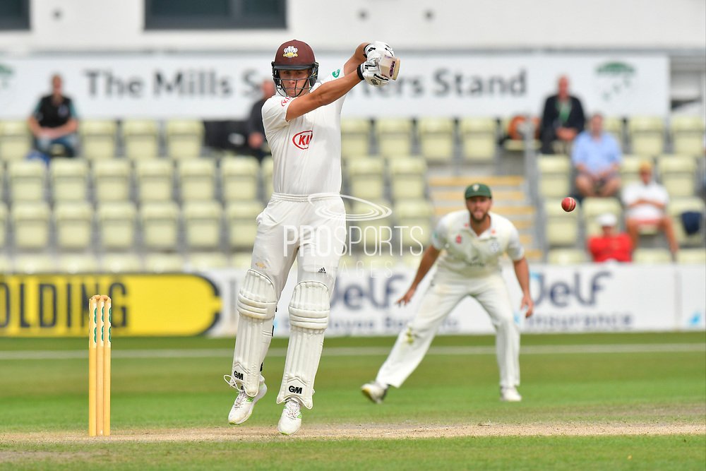 Will Jacks of Surrey hits the ball to the boundary for four runs during the final day of the Specsavers County Champ Div 1 match between Worcestershire County Cricket Club and Surrey County Cricket Club at New Road, Worcester, United Kingdom on 13 September 2018.