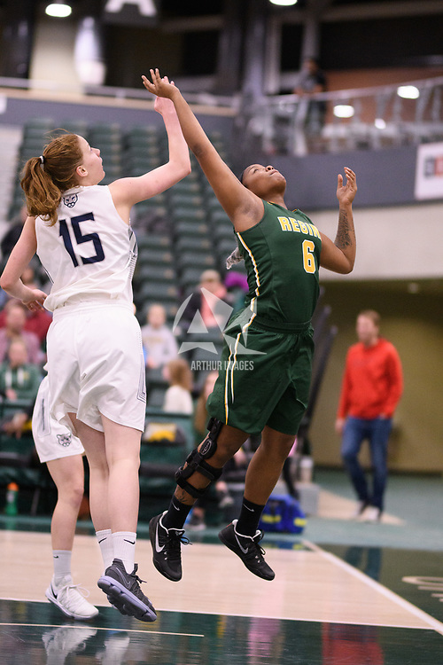 2nd year guard Kyia Giles (6) of the Regina Cougars during the Women's Basketball home game on January 6 at Centre for Kinesiology, Health and Sport. Credit: Arthur Ward/Arthur Images