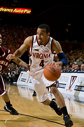 Virginia guard Calvin Baker (4) in action against Virginia Tech.  The Virginia Cavaliers men's basketball team fell to the Virginia Tech Hokies 70-69 in overtime at the John Paul Jones Arena in Charlottesville, VA on January 16, 2008.