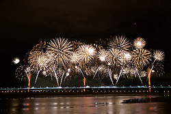 RUNCORN, ENGLAND - Friday, October 13, 2017: Fireworks at the opening of the new Mersey Gateway Bridge, the £600m new bridge crossing the River Mersey connecting Widnes and Runcorn. (Pic by David Rawcliffe/Propaganda)