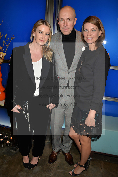 Left to right, ANYA HINDMARCH, DYLAN JONES and NATALIE MASSENET at a dinner hosted by Anya Hindmarch and Dylan Jones to celebrate the end London Collections: Men 2014 held at Hakkasan, 8 Hanway Place, London on 8th January 2014.