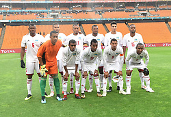 South Africa: Johannesburg: Seychelles players poses for photographs during the Africa Cup Of Nations qualifiers against Bafana Bafana at FNB stadium, Gauteng.<br />