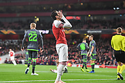 Arsenal Midfilder Henrikh Mkhitaryan (7) rues a missed chance during the Europa League group stage match between Arsenal and Sporting Lisbon at the Emirates Stadium, London, England on 8 November 2018.
