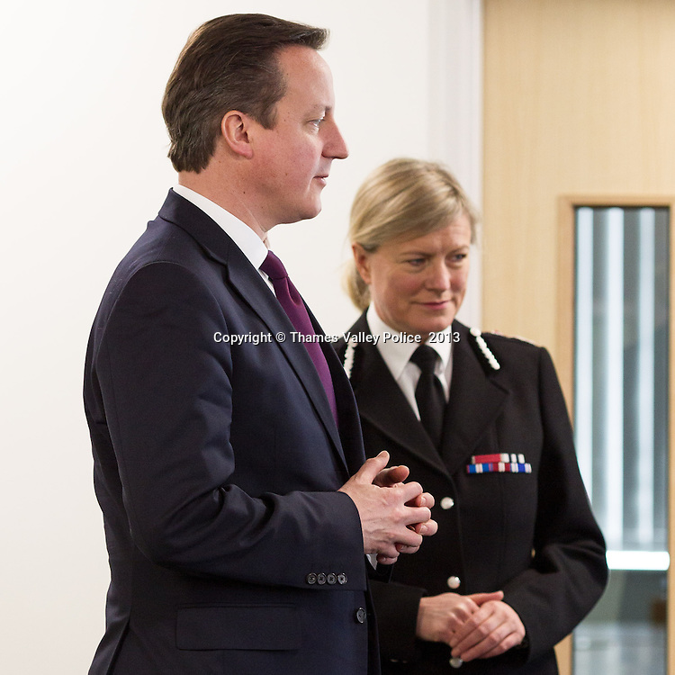 The Prime Minister visits Thames Valley Police Headquarters to open the newly refurbished office block. Kidlington, UNITED KINGDOM. February 15 2013. <br /> Photo Credit: MDOC/Thames Valley Police<br /> &copy; Thames Valley Police 2013. All Rights Reserved. See instructions.