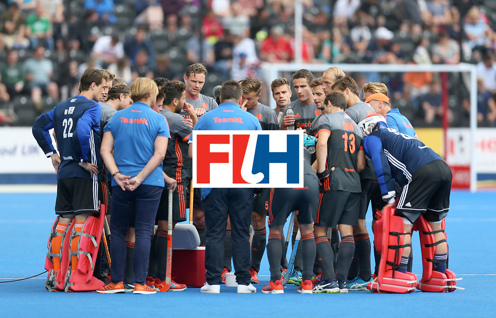 LONDON, ENGLAND - JUNE 24: Netherlands players recieve a team talk during the semi-final match between England and the Netherlands on day eight of the Hero Hockey World League Semi-Final at Lee Valley Hockey and Tennis Centre on June 24, 2017 in London, England. (Photo by Steve Bardens/Getty Images)