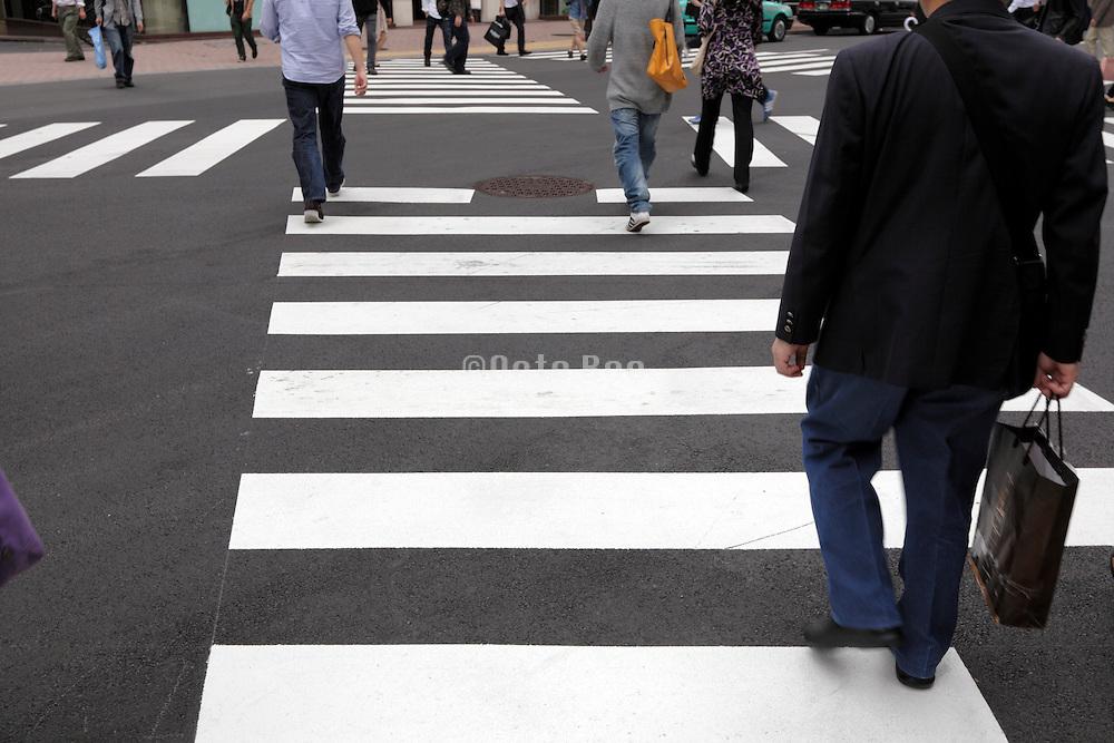 multi pedestrian zebra crossing in Tokyo Japan