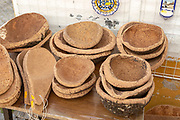 Close up of shop display of bowls made from cork oak tourist souvenir products on sale, city of Evora, Alto Alentejo, Portugal, southern Europe