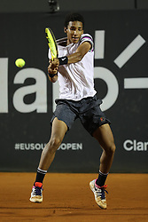 RIO DE JANEIRO, Feb. 24, 2019  Felix Auger-Aliassime of Canada hits a return during the men's singles semifinal between Felix Auger-Aliassime of Canada and Pablo Cuevas of Uruguay at the Rio open 2019 tournament in Rio de Janeiro, Brazil, on Feb. 23, 2019. (Credit Image: © Xinhua via ZUMA Wire)