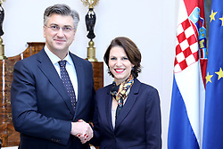 17.01.2020, Zagreb, CRO, Staatsbesuch, Karoline Edtstadler besucht Kroatien, Der kroatische Ministerpräsident Andrej Plenkovic trifft sich mit Karoline Edtstadler Staatssekretärin im Bundesministerium für Inneres der Republik Österreich, im Bild Croatian Prime Minister Andrej Plenkovic meets with Karoline Edtstadler, State Secretary at the Austrian Federal Ministry of the Interior, // during a state visit of Karoline Edtstadler (ÖVP) visits Croatia. Zagreb, Croatia on 2020/01/17. EXPA Pictures © 2020, PhotoCredit: EXPA/ Pixsell/ Patrik Macek<br /> <br /> *****ATTENTION - for AUT, SLO, SUI, SWE, ITA, FRA only*****