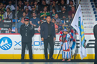 REGINA, SK - MAY 23: First Nations officer, and flag bearer at the Brandt Centre on May 23, 2018 in Regina, Canada. (Photo by Marissa Baecker/CHL Images)