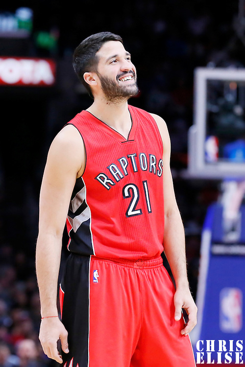 27 December 2014: Toronto Raptors guard Greivis Vasquez (21) rests during the Toronto Raptors 110-98 victory over the Los Angeles Clippers, at the Staples Center, Los Angeles, California, USA.