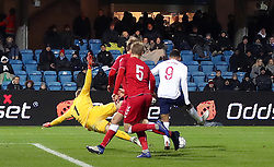 England U21's Dominic Solanke (right) scores his side's third goal of the game during the international friendly match at the Blue Water Arena, Esbjerg.