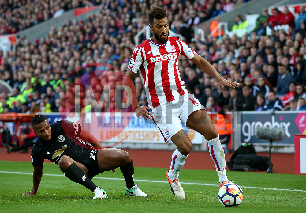 Eric Maxim Choupo Moting of Stoke City takes on Luis Antonio Valencia of Manchester United - Mandatory by-line: Matt McNulty/JMP - 09/09/2017 - FOOTBALL - Bet365 Stadium - Stoke-on-Trent, England - Stoke City v Manchester United - Premier League