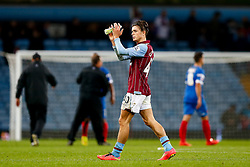 Jack Grealish of Aston Villa looks dejected as he applauds the crowd after his side 0-1 loss - Photo mandatory by-line: Rogan Thomson/JMP - 07966 386802 - 27/08/2014 - SPORT - FOOTBALL - Villa Park, Birmingham - Aston Villa v Leyton Orient - Capital One Cup Round 2.
