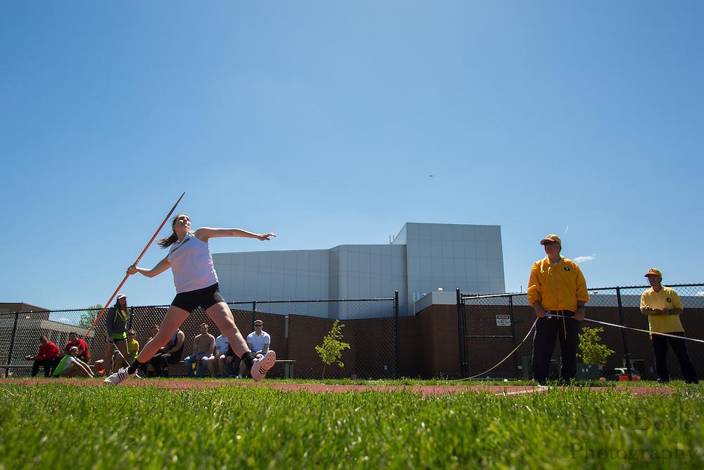 Rowan University Junior Sarah Dores competes in the women's javelin at the NJAC Track and Field Championships at Richard Wacker Stadium on the campus of  Rowan University  in Glassboro, NJ on Saturday May 4, 2013. (photo / Mat Boyle)