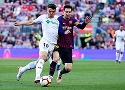 BARCELONA, May 13, 2019  Barcelona's Lionel Messi (R) vies with Getafe's Mauro Arambarri during a Spanish league match between FC Barcelona and Getafe in Barcelona, Spain, on May 12, 2019. FC Barcelona won 2-0. (Credit Image: © Joan Gosa/Xinhua via ZUMA Wire)