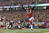 20 January 2013: Cornerback (23) Dunta Robinson of the Atlanta Falcons celebrates after a fumble by the San Francisco 49ers during the second half of the 49ers 28-24 victory over the Falcons in the NFC Championship Game at the Georgia Dome in Atlanta, GA.