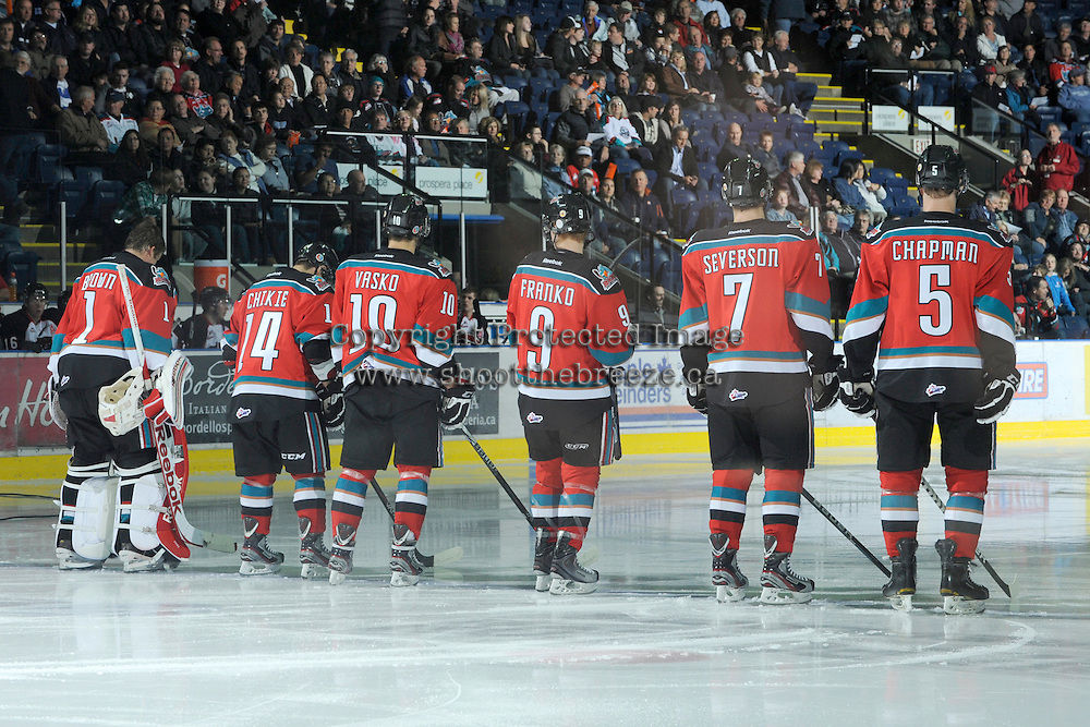 KELOWNA, CANADA, OCTOBER 26:  Kelowna Rockets starting lineup as the Prince George Cougars visit the Kelowna Rockets  on October 26, 2011 at Prospera Place in Kelowna, British Columbia, Canada (Photo by Marissa Baecker/Shoot the Breeze) *** Local Caption ***