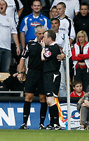 Photo: Steve Bond/Richard Lane Photography. Derby County v Sheffield United. Coca-Cola Championship. 13/09/2008. Ref Mr C Foy consults his linesman and changes the penalty decision