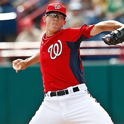 March 4, 2011; Viera, FL, USA; Washington Nationals relief pitcher Tyler Clippard (36) during a spring training exhibition game against the Atlanta Braves at Space Coast Stadium.  Mandatory Credit: Derick E. Hingle